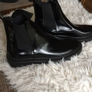 NWT Forever 21 black rubber chelsea ankle boots